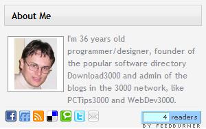 About Me 3000 widget внешний вид