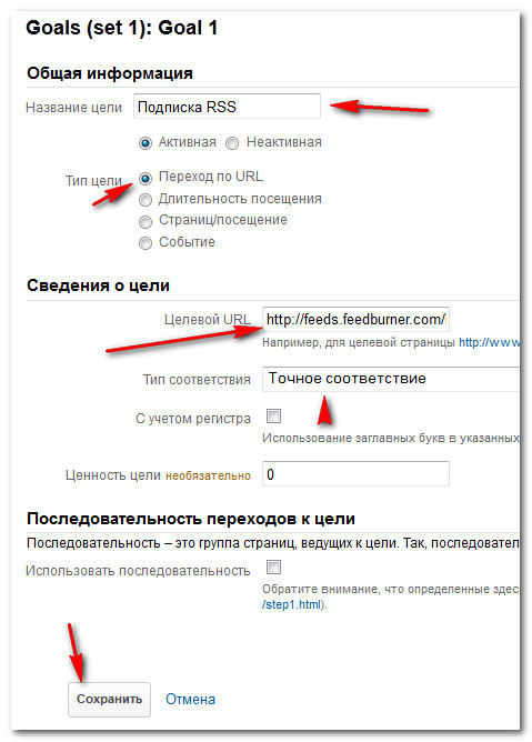 настройка цели google analytics